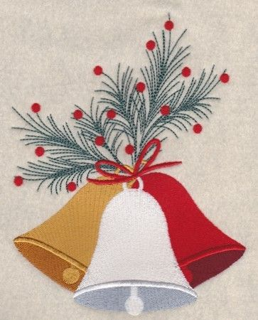 Christmas Bells Embroidery Design 1 by 8clawsandapaw on Etsy