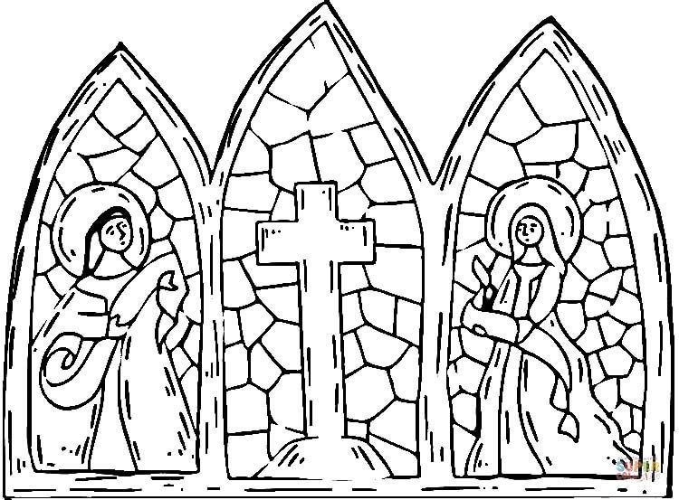 Stained Glass Cross coloring page Free Printable