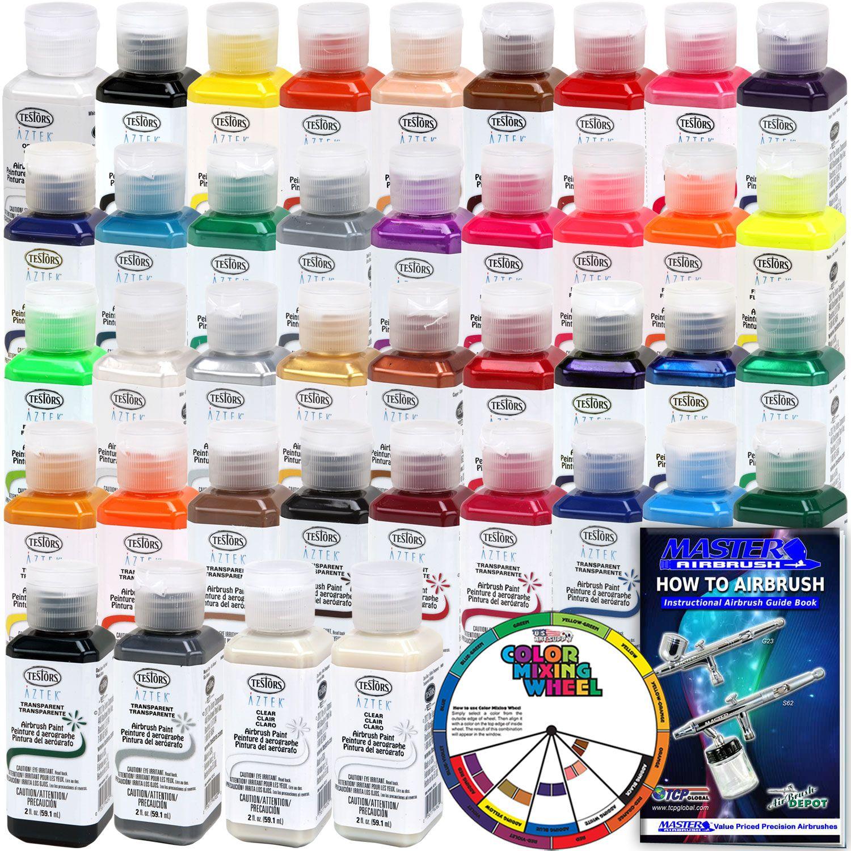 Complete 38 color testors aztek premium acrylic airbrush paint set complete 38 color testors aztek premium acrylic airbrush paint set 4 color mixing wheel geenschuldenfo Choice Image