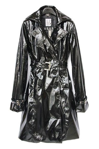 #Aprilwe Shiny Look Lapel Double-breasted Belted Trench Coat