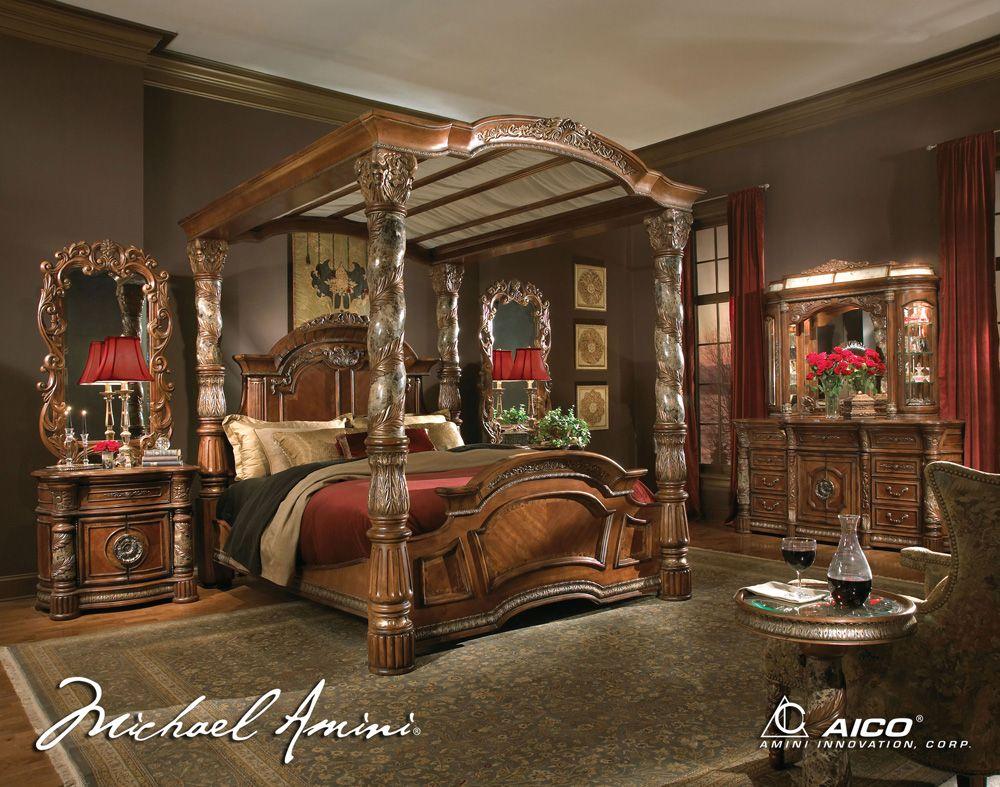 Dark brown furniture Luxurious bedrooms, Canopy bedroom