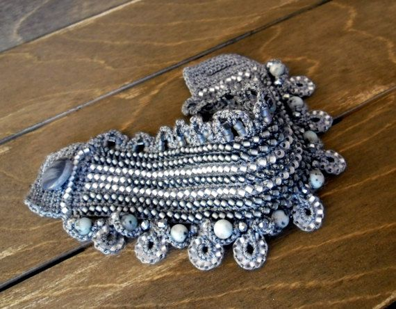 Silver Crochet Bracelet Cuff with Japanese Beads, Freeform Crochet ...