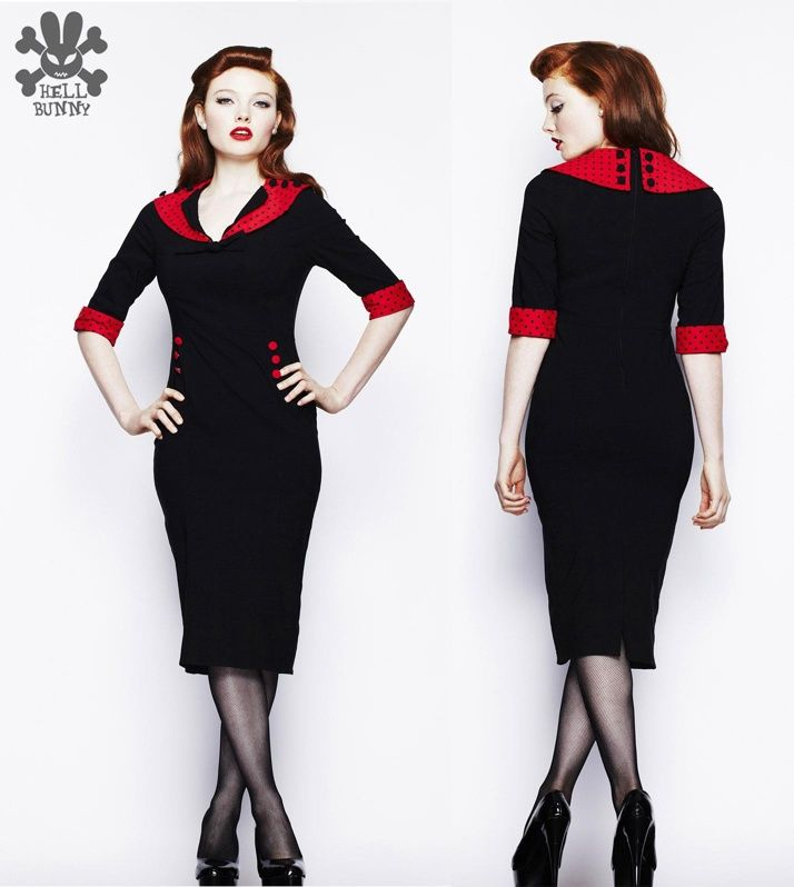 Hell Bunny Thelma Red and Black Polka Wiggle Dress - http://www.jackdawlanding.com/