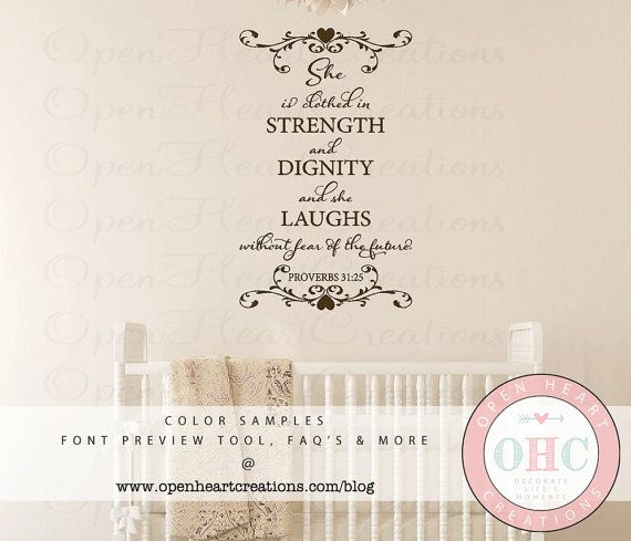 Scripture Wall Decals She Is Clothed In Strength And Dignity - Bible verse nursery wall decals