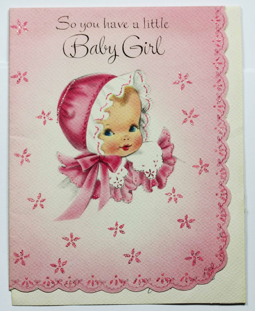 Vintage greeting card new baby girl cute pink glitter die cut edge vintage greeting card new baby girl cute pink glitter die cut edge kristyandbryce Image collections