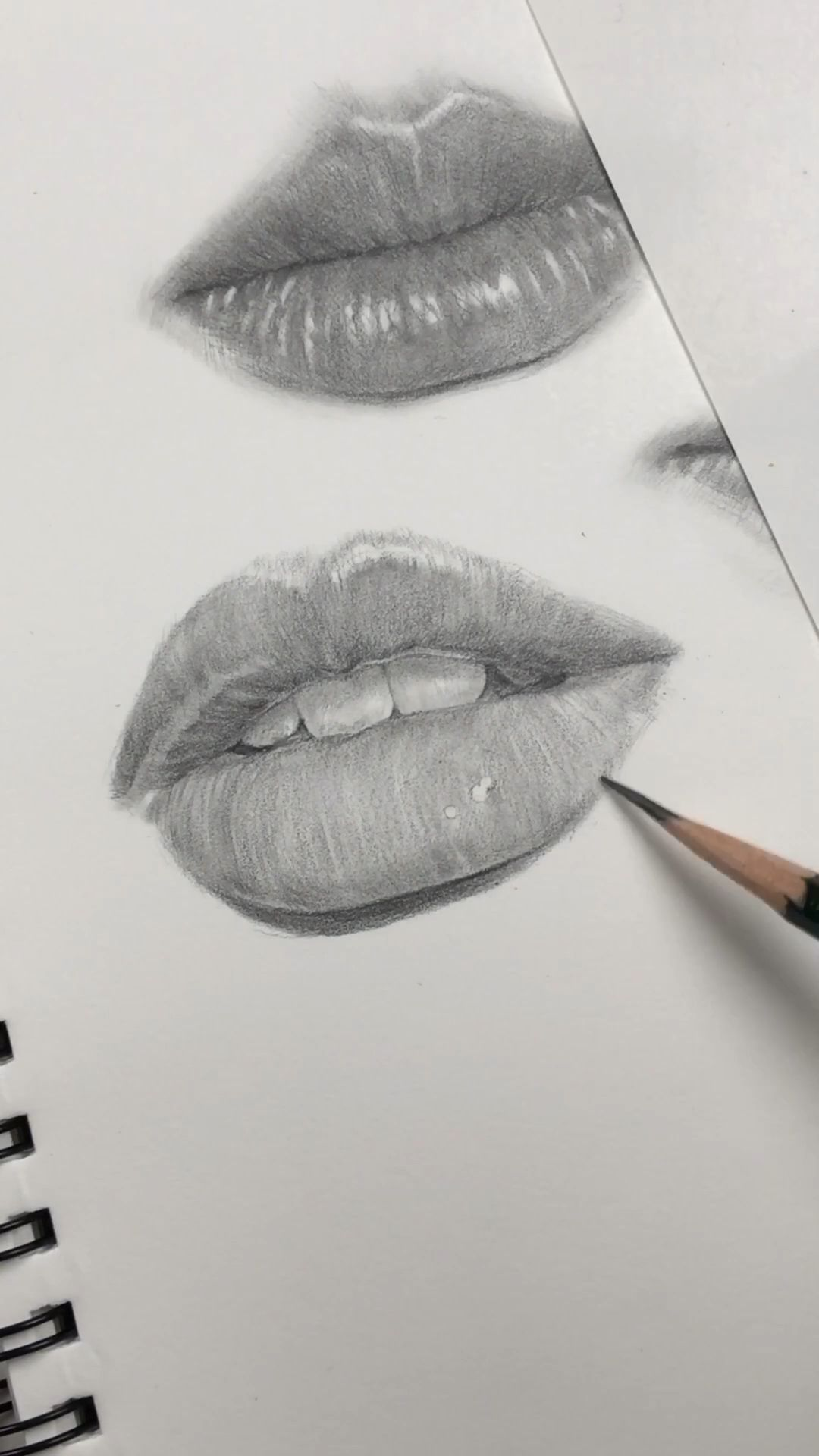 Drawing lips by Nadia Coolrista. Practicing freehand drawing of facial features.
