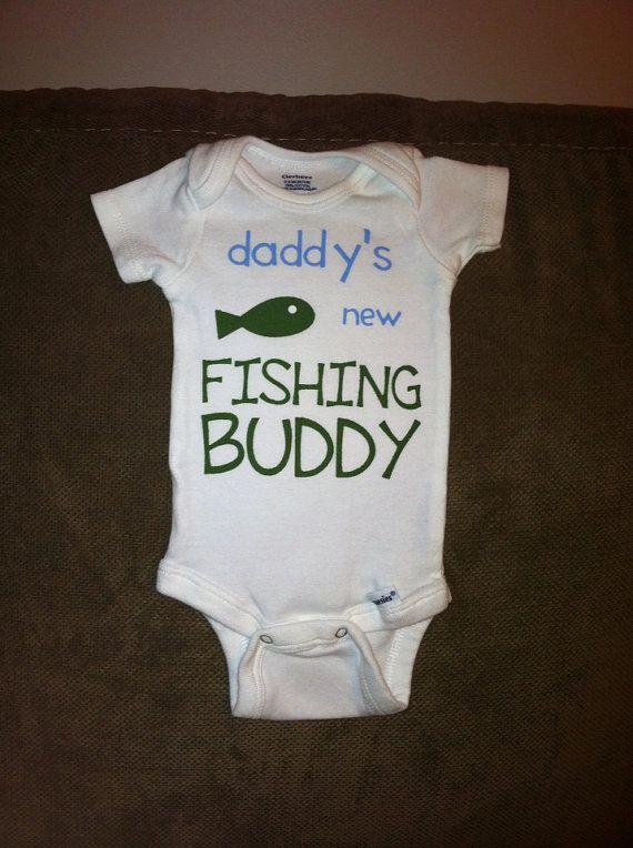 Daddy 39 s new fishing buddy baby onesie or toddler tee shirt for Fishing shirt onesie