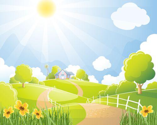 Beautiful Natural Scenery And Sun Vector 03 Di 2020 Seni Gambar Animasi