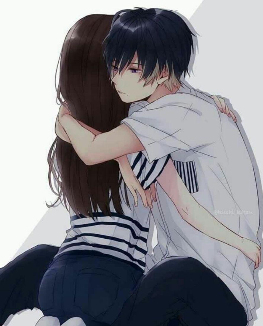Pin On Random Anime couple hug wallpaper