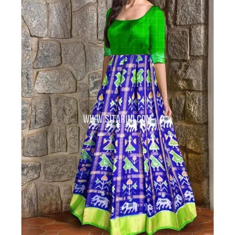 3a382ac821252 Ikkat Pattu Lehenga-Checks-Royal Blue and Green-Sitarini-PRHIPL208 ...