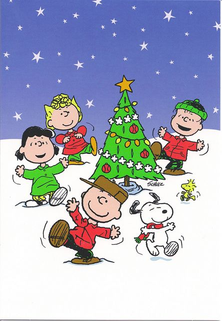 snoopy the peanuts and charlie brown love dancing around the christmas tree - Snoopy Christmas Tree