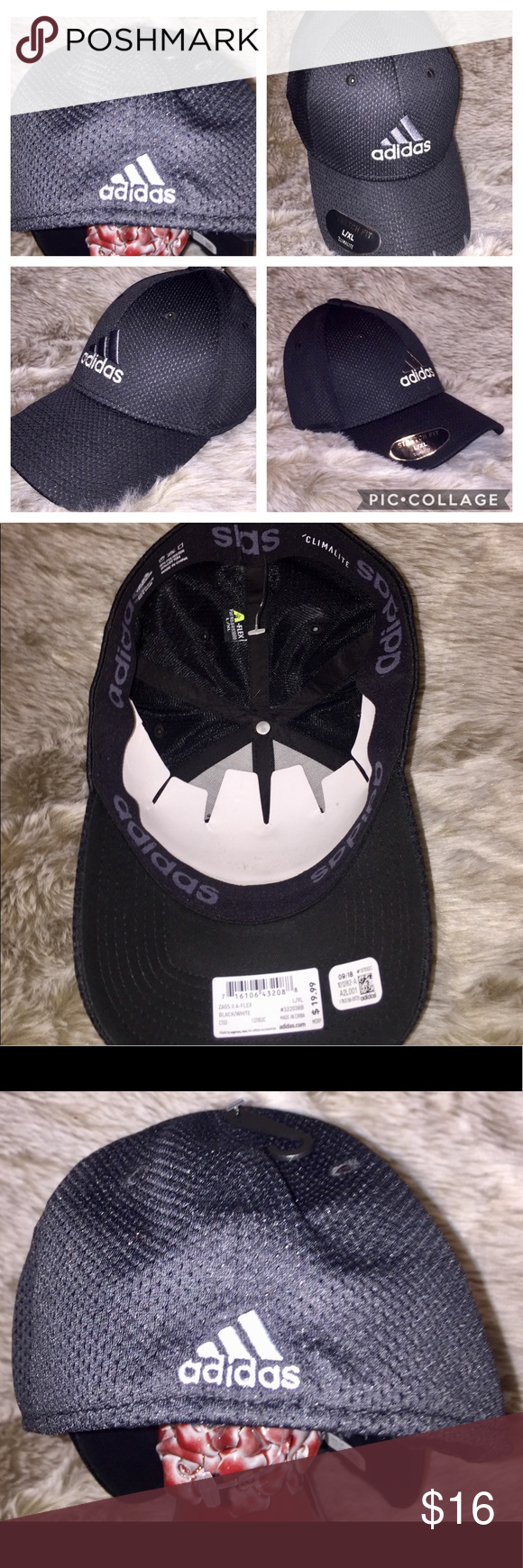 Adidas Hat Nwt Stretch Fit Sz L Xl Black Zags Adidas Hat Black Adidas Adidas