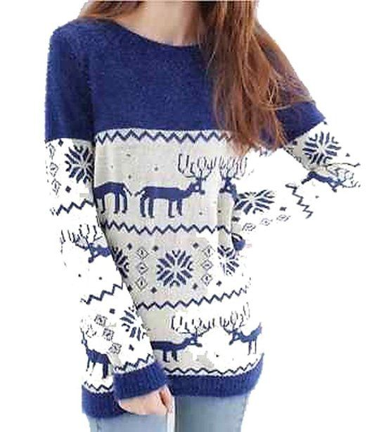 Blue and white reindeer sweater  87e0464c7