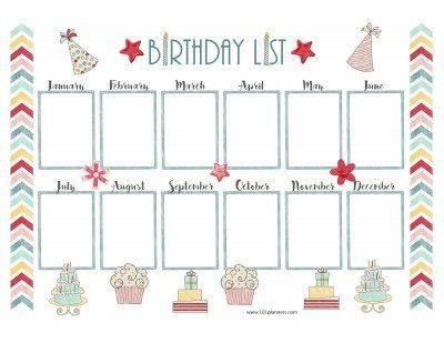 Birthday List Template Free New Free Birthday Calendar  Download  Pinterest  Birthday Calendar .