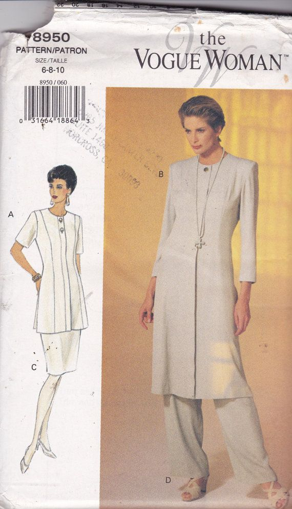 Vogue 8950 Vintage Pattern Womens Tunic Top in 2 Variations, Skirt ...