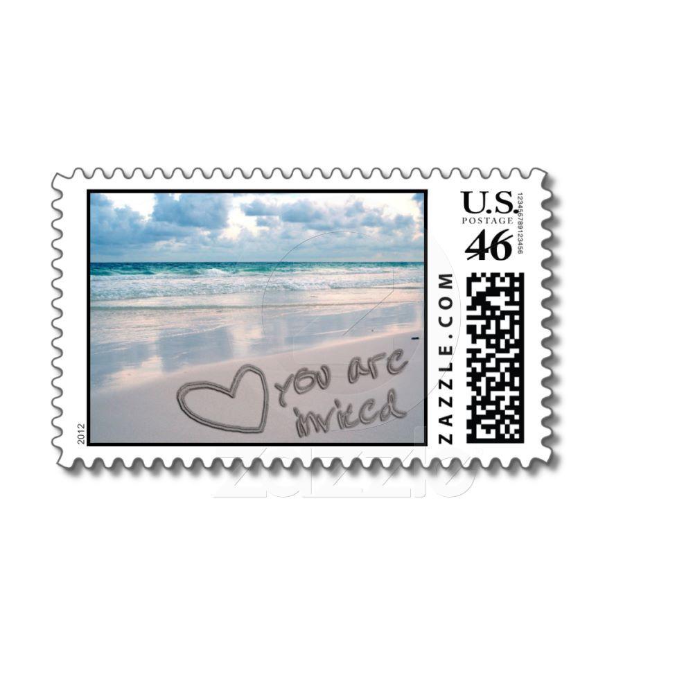 Invitation, Sunset Beach Sand Writing Postage Stamp from Zazzle.com ...