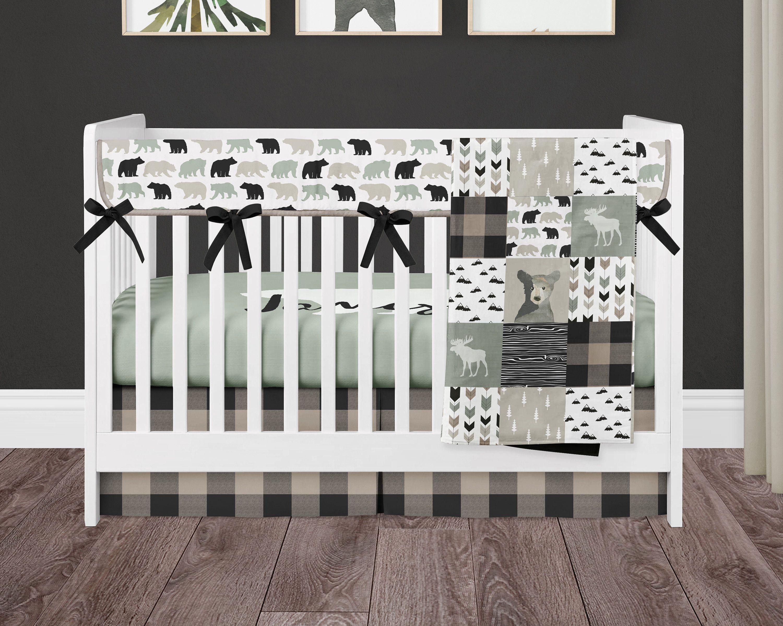 Woodland custom nursery bedding boy crib sheet buck woodland nursery buck deer personalized crib bedding Crib sheet baby boy Antlers