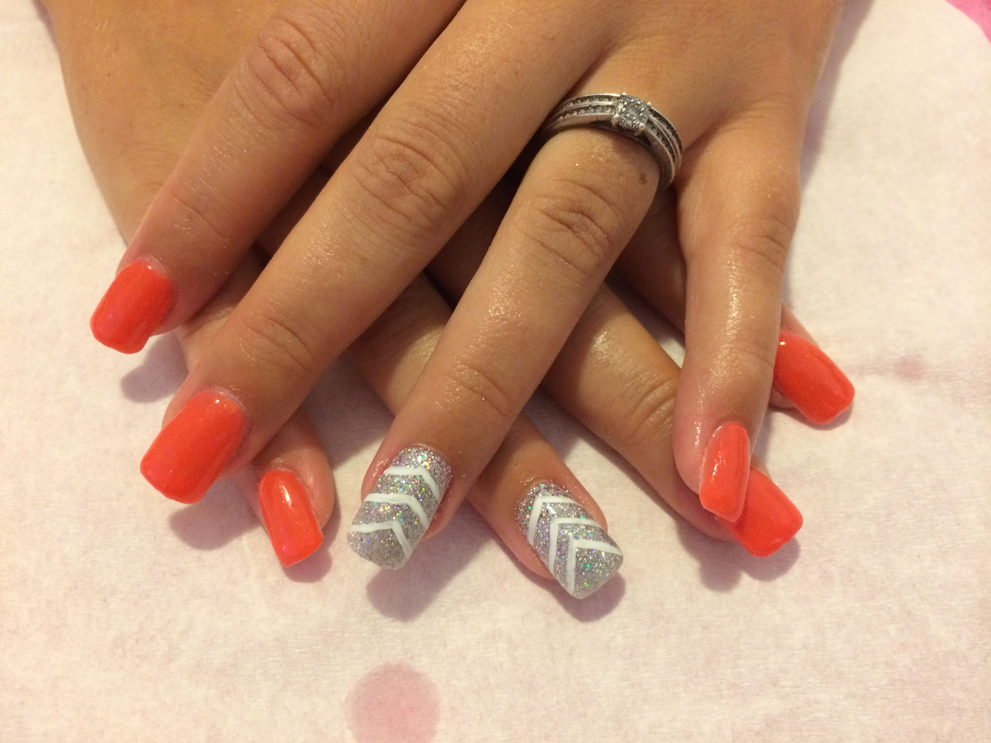 Coral /glitter accent acrylic with gel overlay