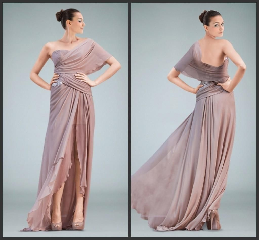 Grecian One Shoulder Prom Dresses Chiffon Split Evening Gowns ...