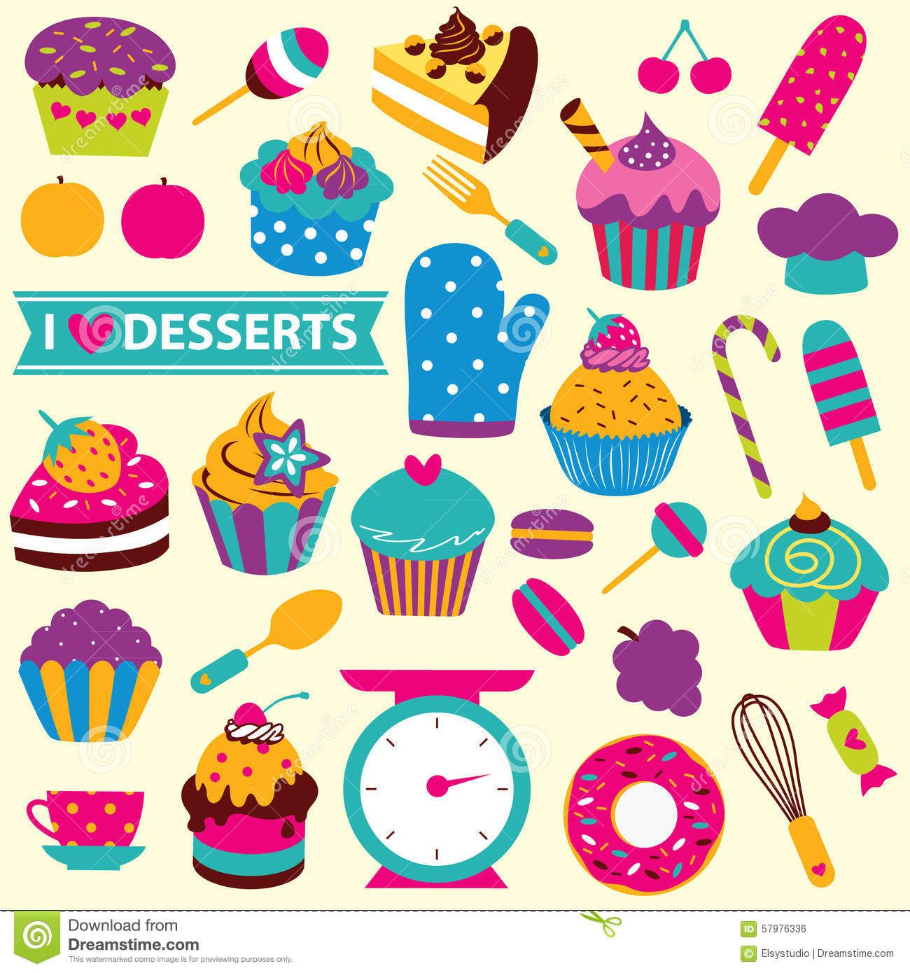 cupcakes elements clip art set cute desserts kitchen 57976336 jpg rh pinterest ca clip art desert palm photo clip art desert palm
