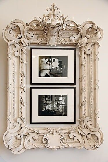 """I have some big old frames like this that I've toyed with tossing, but seeing this I'm now looking for the spray paint and some smaller photos! This would be so well suited for a beautiful family history display. You can learn more about discovering your family history by listening to the Genealogy Gems Podcast in iTunes."""