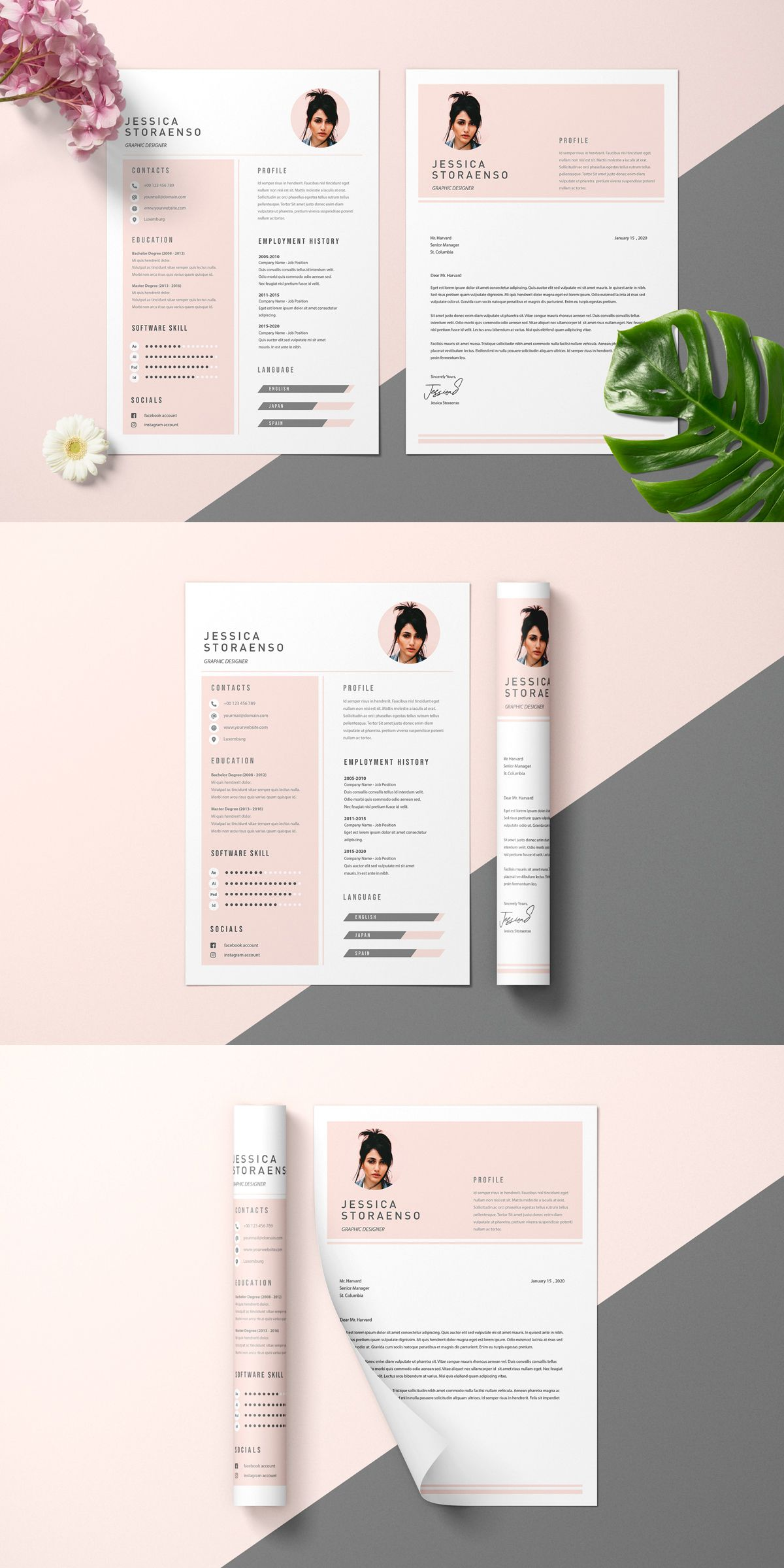 Minimalist Fashion Resume Cv Psd And Ai Template Graphic Design Resume Fashion Resume Graphic Design Cv