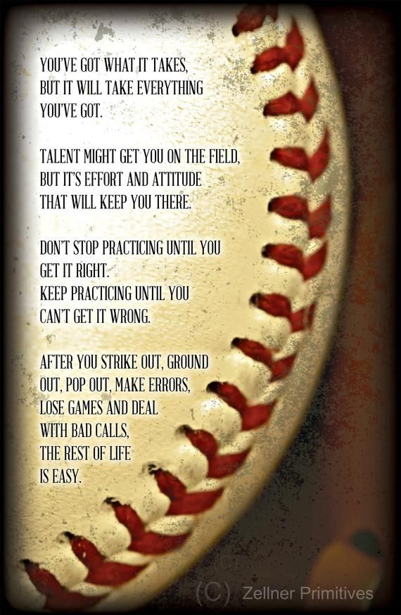 """Photo of Motivational Baseball or Softball Gift / 16"""" x 11″ / Print adhered to wood and ready to display or Print without wood to use as a poster"""