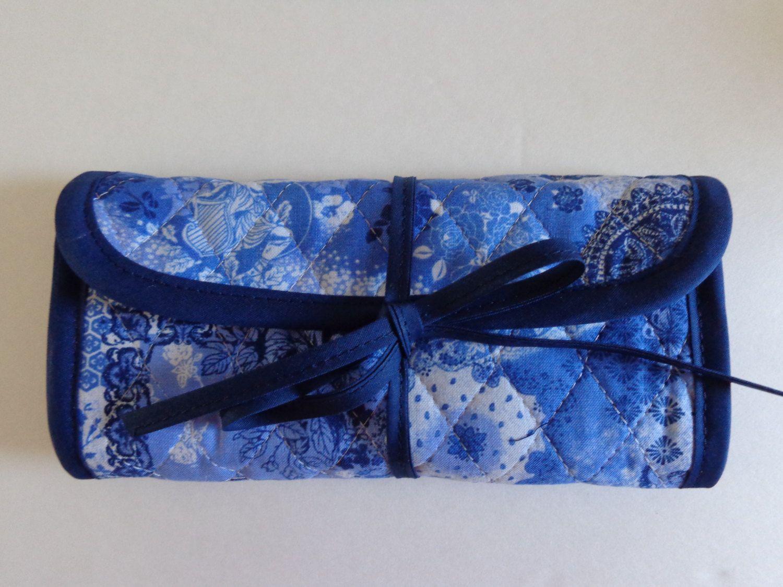 Crochet Hook Case Blue Navy White Flowers Cherub Quilted Bag by RoxannasBags on Etsy