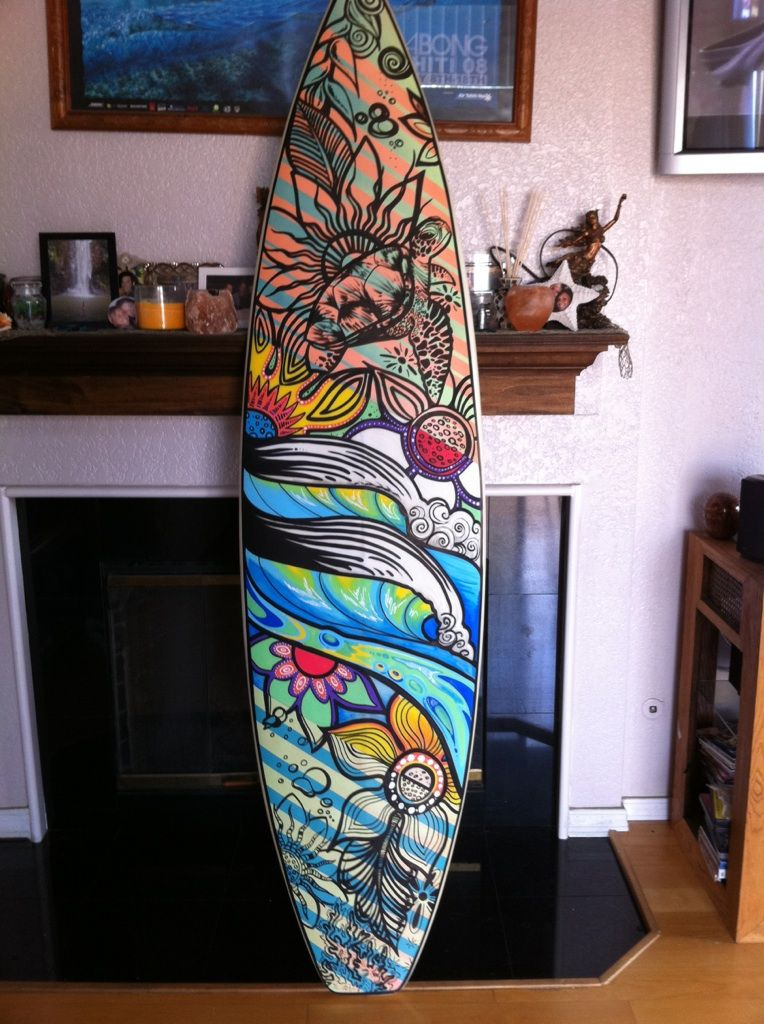 Surfboard Art by Heather Ritts, Commissioned by Ocean