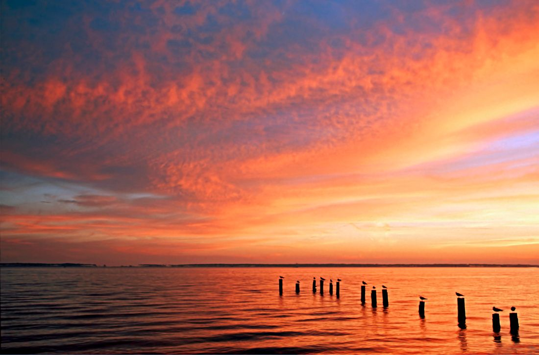 Sunset Front Beach Ocean Springs Ms