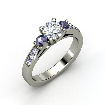 Round Diamond Palladium Ring with Iolite