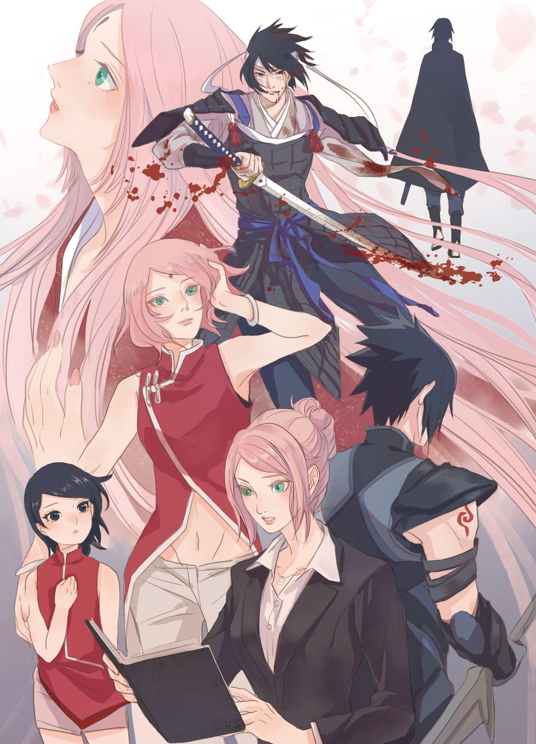 Tags: Fanart, NARUTO, Haruno Sakura, Uchiha Sasuke, Pixiv, Fanart From Pixiv, Uchiha Sarada, Pixiv Id 12934036
