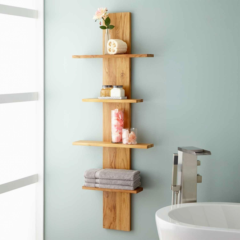 22 Lovely Bathroom Shelves Ideas For More Elegant Hanging Bathroom Shelves Bathroom Shelf Decor Decorating Shelves