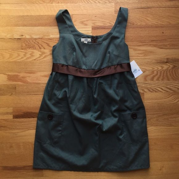 SO Sz L (Juniors) Brown/Teal Jumper Dress SO Brown/Teal Dress Sz L (Juniors).  NWT.  Adorable jumper with pocket/button detail and brown tie-back ribbon. SO Dresses