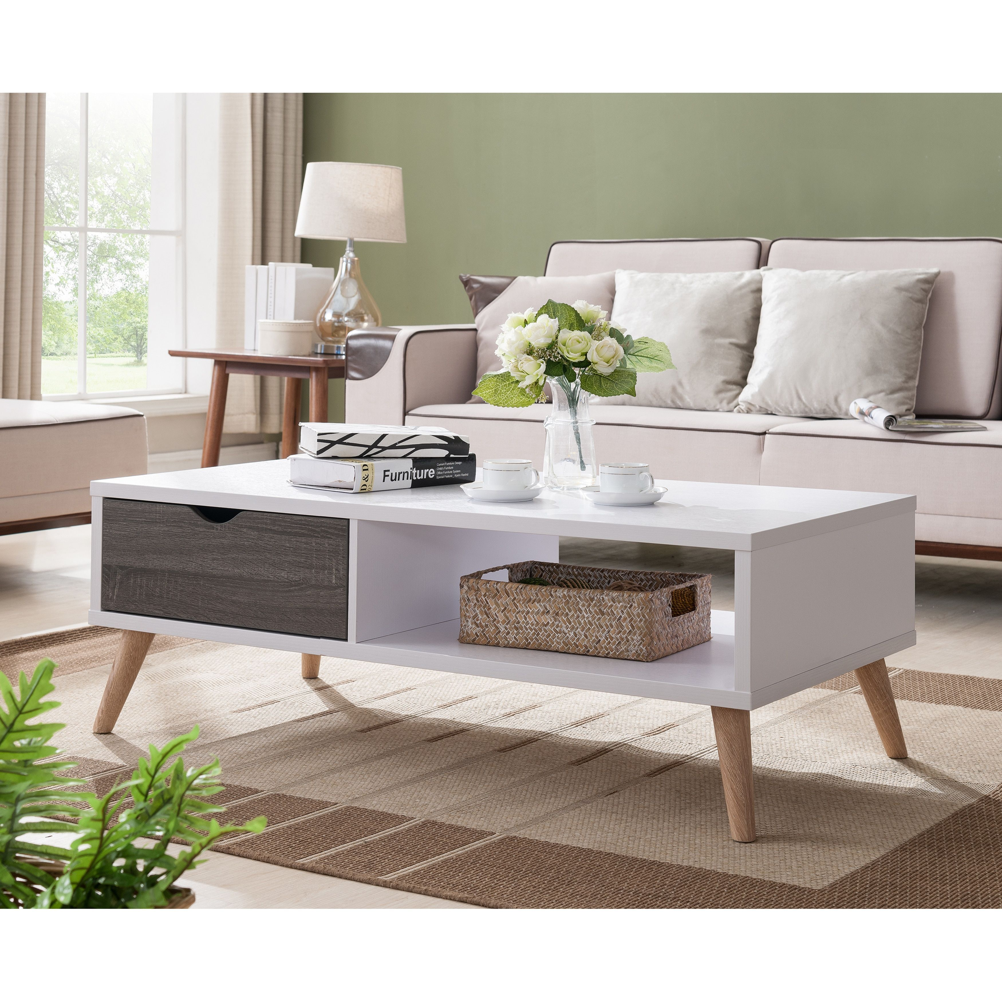 Furniture Of America Arella II Mid Century Modern 2 Tone Distressed Grey White Coffee