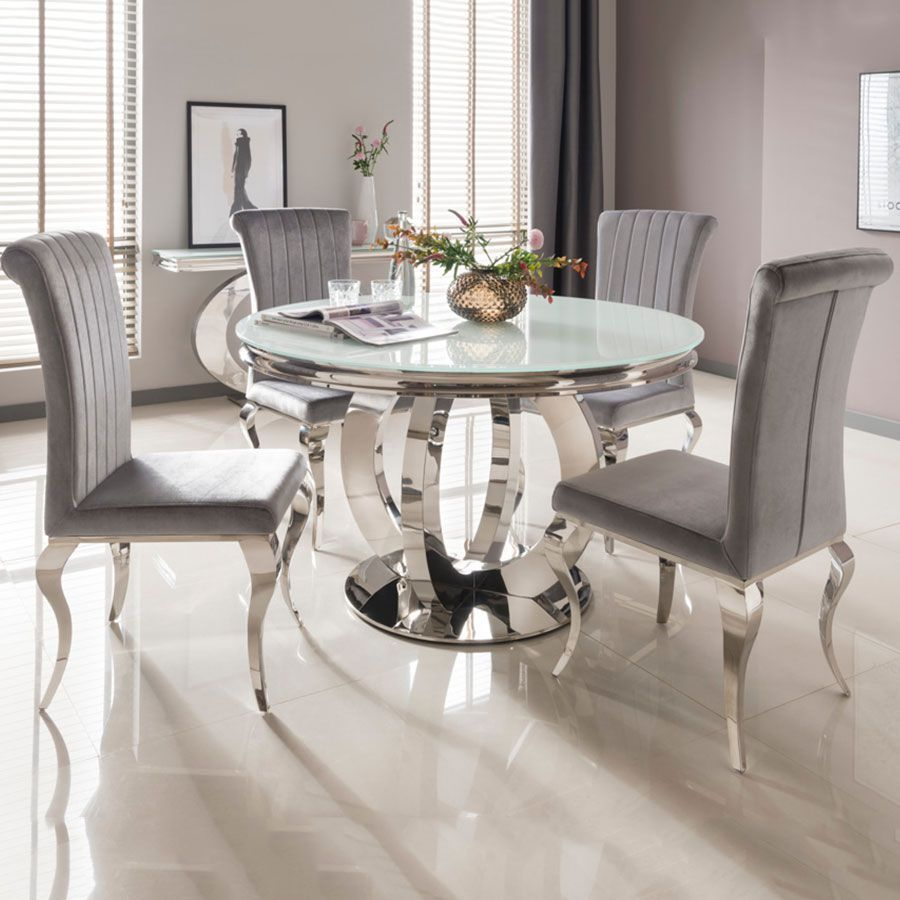 Our Beautiful Las Vegas Collection Would Make A Stunning Statement In Any Home Stunning In 2020 Round Dining Room Sets Round Dining Room Table Glass Round Dining Table