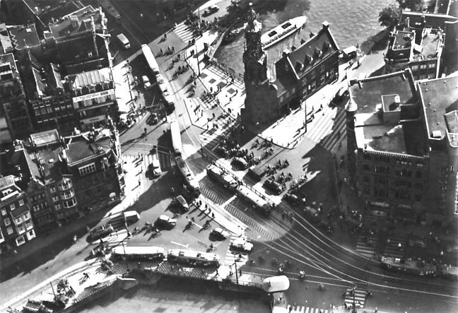 1950's. Aerial shot of the Muntplein in Amsterdam. Photo Jeroen Epema. #amsterdam #1950 #Muntplein
