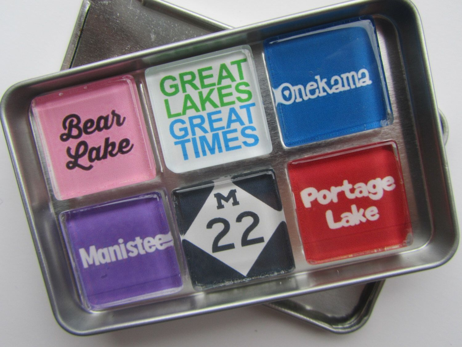 Manistee Frankfort Portage Lake Bear Lake Crystal Lake Beulah Onekama Michigan Up North Michigan Magnets No Manistee Glass Magnets Super Strong Magnets
