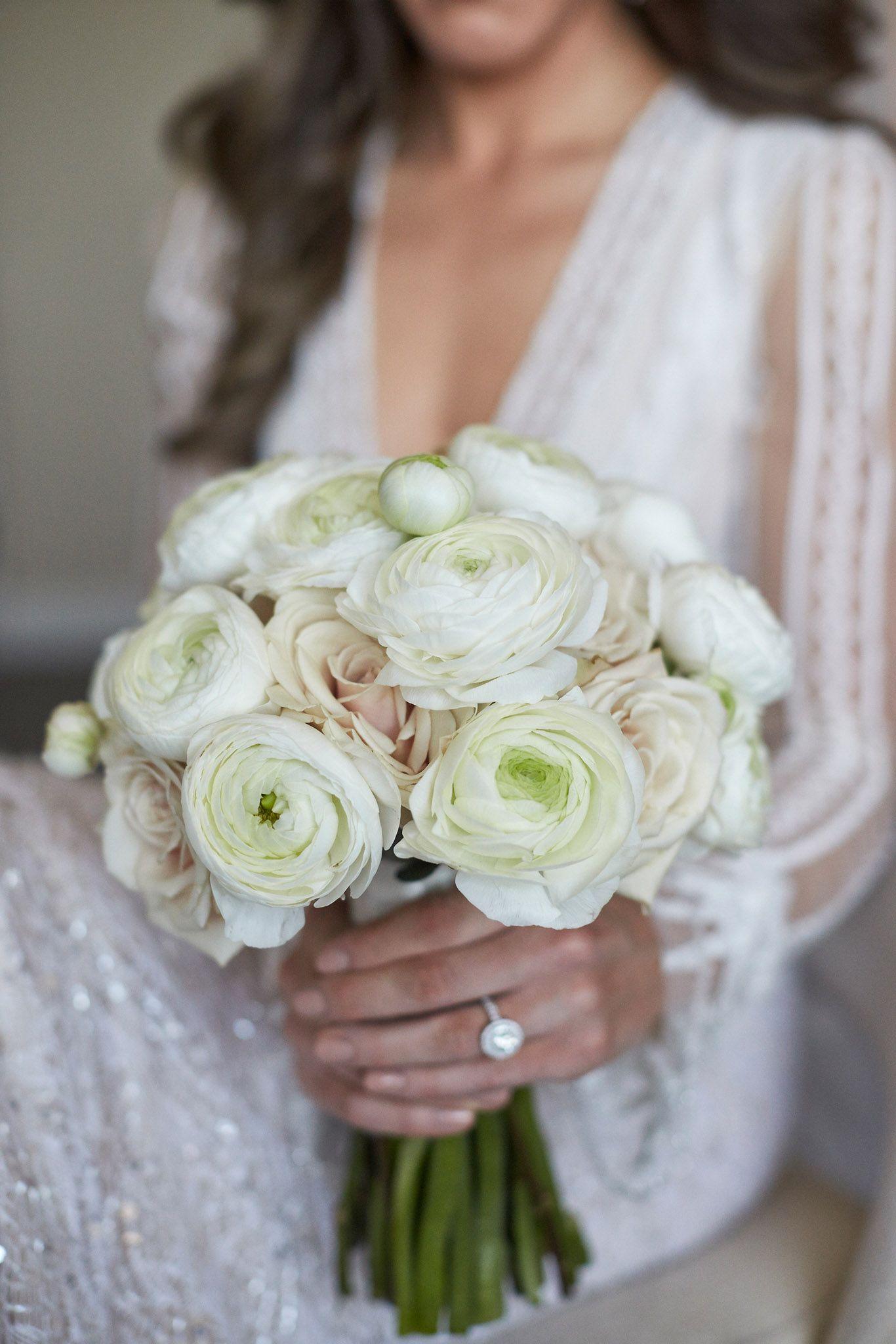 An Opulent Spring Wedding With Timeless Elegant Decor In Chicago Inside Weddings Ranunculus Bridal Bouquet White Bridal Bouquet Flower Bouquet Wedding