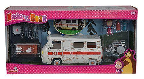 Simba – 109309863 – Ensemble de Poupée – Macha et L'Ours – Ambulance: Le set contient l'ambulance avec accessoires, figurine Macha, deux…