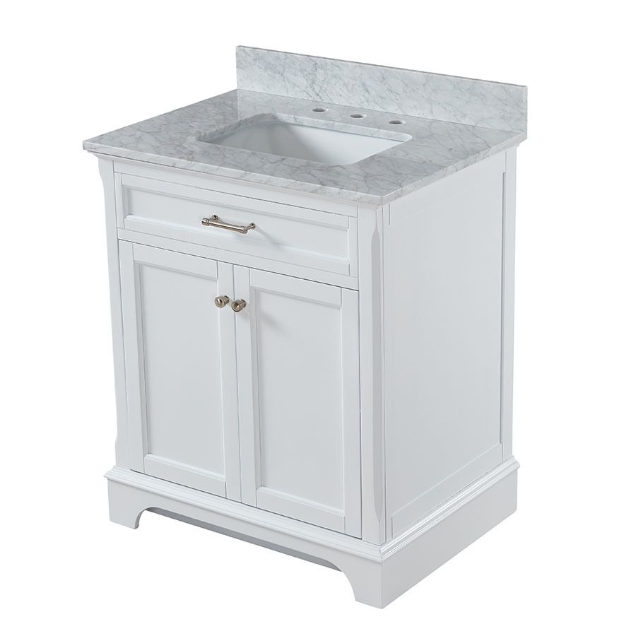 allen + roth Roveland White Undermount Single Sink Bathroom Vanity with  Natural Marble Top (Common