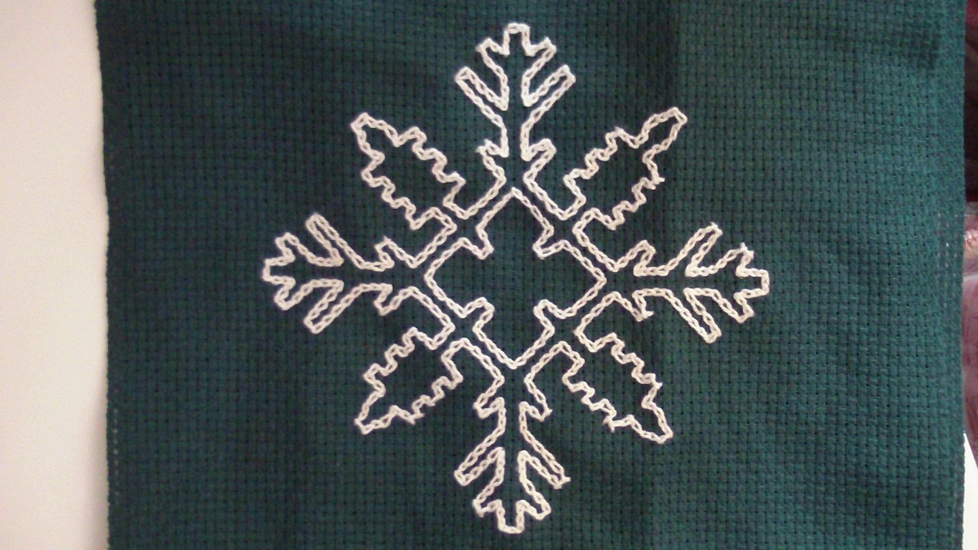 Perle cotton chain stitch on 8ct Aida