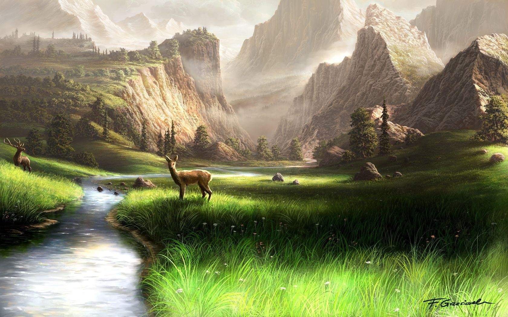 Mountain Paintings | mountain landscape by fel x digital art ...