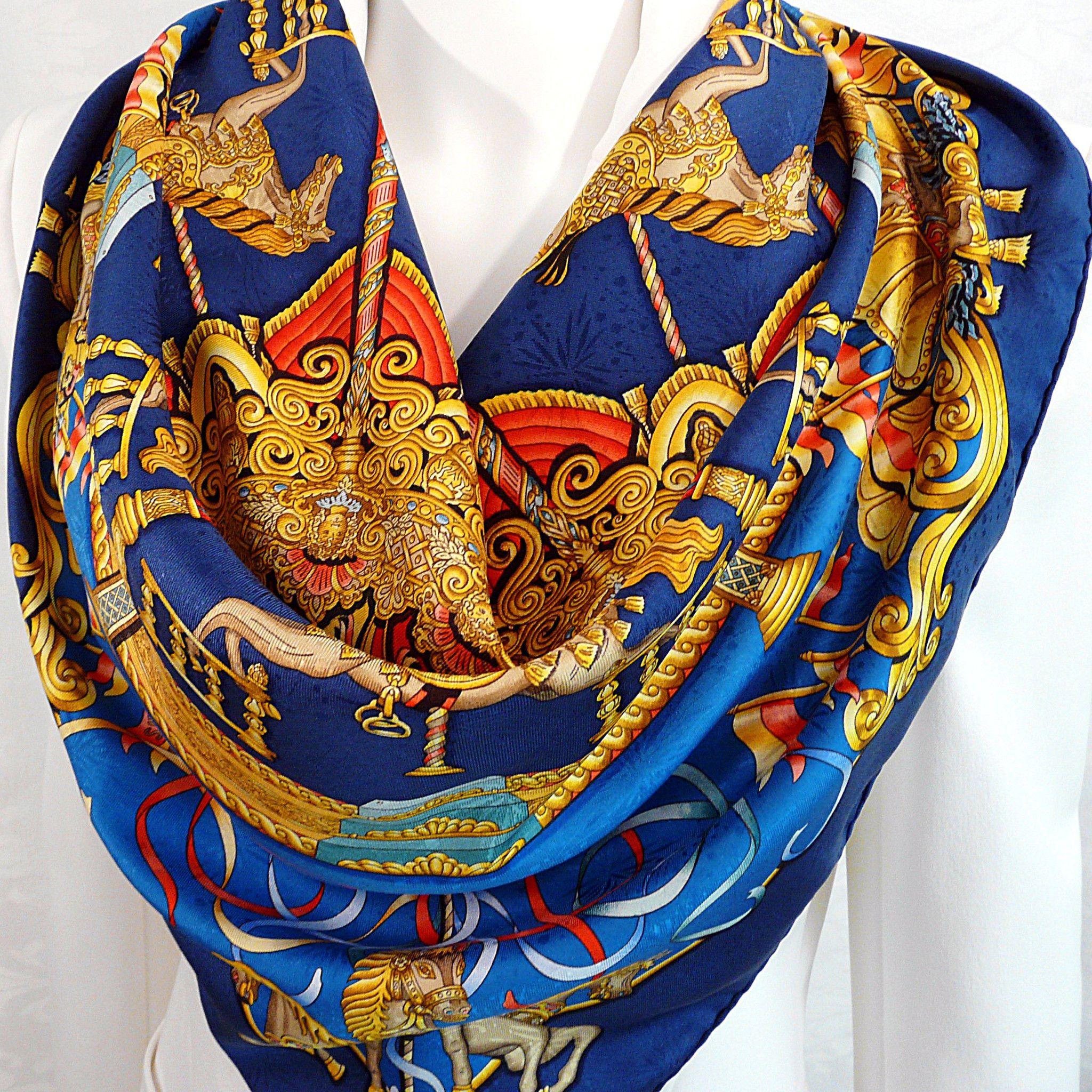 Authentic Vintage Hermes Silk Jacquard Scarf Luna Park by Joachim Metz Blues