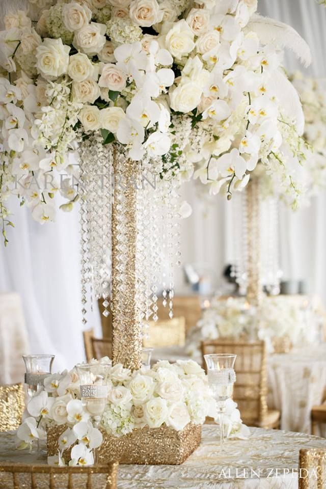 total white floral arrangement, golden glitter and crystals by Karen Tran