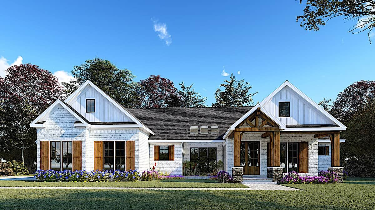 Contemporary Home 3 Bedrms 2 5 Baths 2073 Sq Ft Plan 193 1157 Farmhouse Style House Plans Farmhouse Style House Modern Ranch House Plans