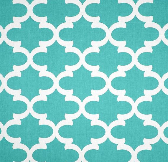Quatrefoil Lattice Aqua Blue Trellis Tiffany Blue Fabric By The