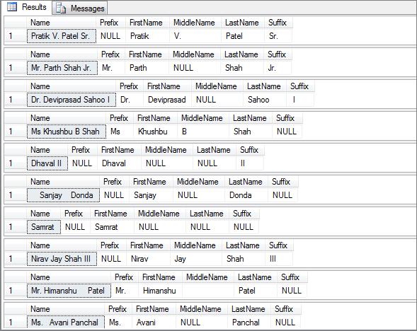 Split Name into First name, Middle Name and Last Name in SQL Server