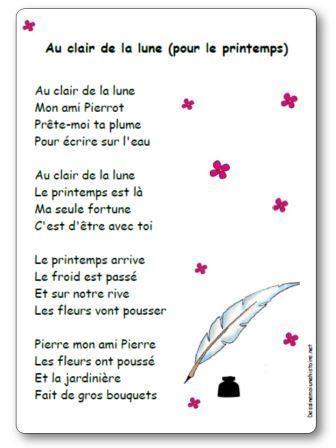 Sur La Lune Parole : parole, Comptine, Clair, (pour, Printemps), Paroles, Illustrées, Lune,, Comptines,, Chansons, Comptines