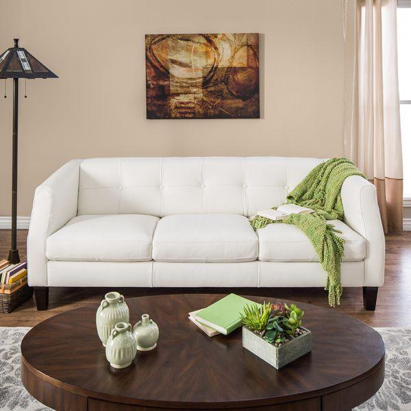 Natuzzi Vittoria Off White Italian Leather Sofa Overstock Shopping